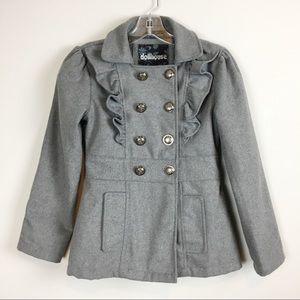 ❄️❄️ Girls Ruffled Pea Coat